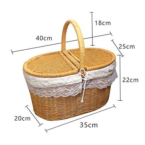 Picknick mand voor buiten grote capaciteit rieten mand met deksel en handvat handgemaakte rotan picknick mand hamer mand winkelen opslag container met voering