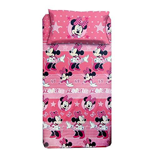 Personaggi Completo Letto Una Piazza Singolo Cotone sopra sotto Federa Minnie Mouse Originale 1044 - Singolo