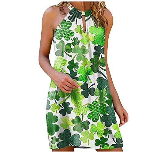 Vestido de verano para mujer, de metal, sin mangas, talla grande, informal, sexy, multicolor, moderno, elegante, suelto, para fiestas, playa, blusa, verde, S