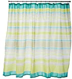 green wavy lines shower curtain