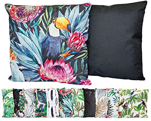 JACK Outdoor Lounge Kissen 45x45cm Motiv Dekokissen Wasserfest Sitzkissen Garten Stuhl, Farbe:Tucan