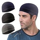 3 Pack Cooling Skull Cap Helmet Liner Sweat Wicking Cycling Running Hat for Men Women