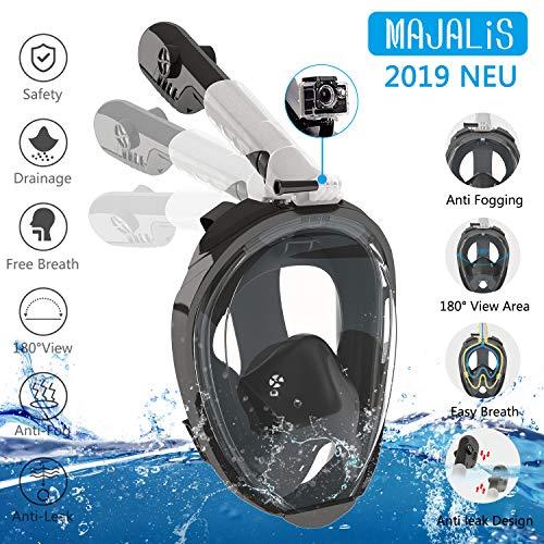 MAJALiS 180° Schnorchelmaske Vollmaske | Tauchermaske | Tauchmaske | Full Face Snorkel Mask mit sicherer Abfuhr von CO2, kompatibel mit GoPro Halter und Antibeschlag | Tragetasche