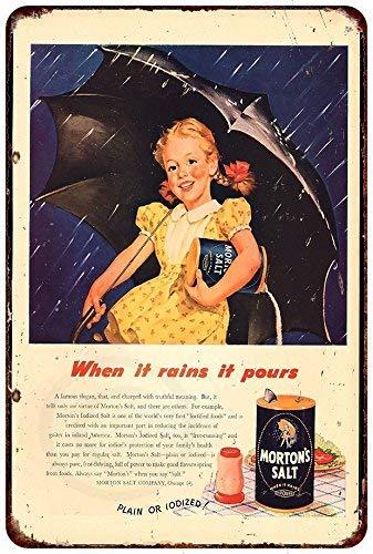 FDerks Morton's Salt Pretty Little Rain Girl Retro Vintage Custom Metal Tin Sign Home House Coffee Beer Drink Bar 8 x 12 Inches