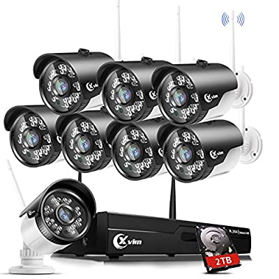 XVIM H.264 2MP Wireless Security Cameras System, 8CH 1080P HD DVR 8pcs 1080P Wireless Outdoor Indoor Waterproof Surveillance Cameras 85FT Night Vision ?with 2TB HDD?