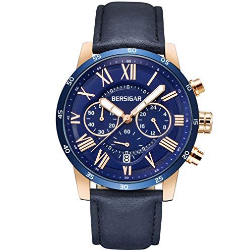 BENYAR BERSIGAR Wasserdicht Chronograph Uhren Business Casual römischen Ziffern Blau Leder Band Armbanduhr für Herren