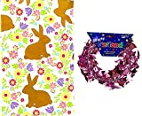 Easter Bunny Vinyl Tablecloth, Spring Welcome Country Colored Silhouette Rabbit with Colorful Flowers - Flannel Backed Vinyl Tablecloth (52' x 52' Inch Square)