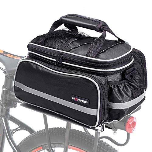 BAIGIO Bike Pannier Bag Waterproof Bicycle Rear Seat Trunk Panniers Extendable Cycle Storage Pouch with Shoulder Strap & Rain Cover