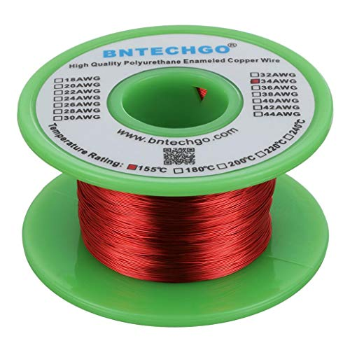 BNTECHGO 34 AWG Magnet Wire - Enameled Copper Wire - Enameled Magnet Winding Wire - 4 oz - 0.0063'...