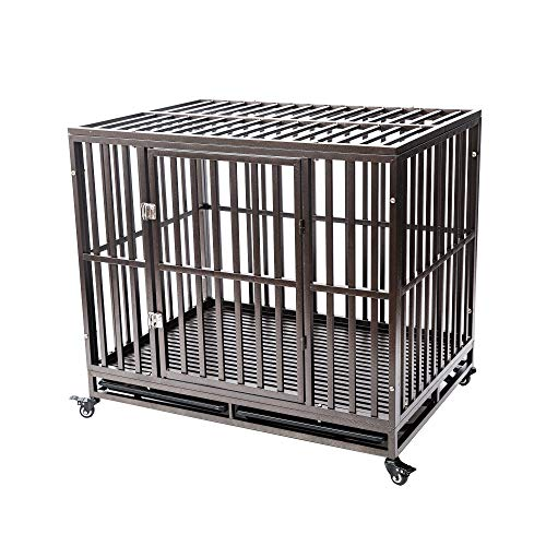 GCY Heavy Duty Dog Crate Cage Kennel Playpen Large Strong Metal for Large Dogs Cats with Two Prevent Escape Lock and Four Lockable Wheels