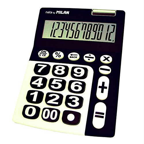 Milan 150912KBL rekenmachine, 12-cijferige, grote toetsen, zwart/wit
