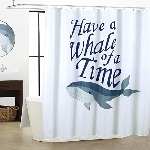 WestWeir Whale Shower Curtain - White Fabric Waterproof 72 x 72 inches