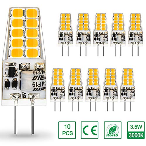 AUTING Bombillas LED G4 de 3.5W, Equivalente a Bombilla Halógena de 30W, 400lm Blanco Cálido 3000K Lámpara LED G4, DC/AC 12V, No Regulable, Ángulo de haz de 360 °, Paquete de 10