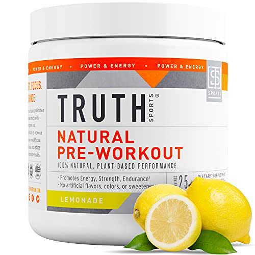Truth Nutrition All Natural Pre Workout Powder - Clean Pre Workout for Men Keto - Pre Workout Women Plant Based Vegan Preworkout Powder - Natural Preworkout for Women and Men (Lemonade)