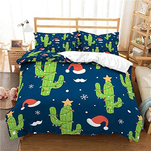 KDLxchT Ropa De Cama Infantil Verde Planta Cactus Patrón Ropa De Cama para Adolescentes, Funda De Edredón para Niños, Suave Cremallera, Microfibra, Funda De Almohada 50X75 Cm 200X200Cm
