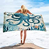 Stillshine. Grande Toalla de Playa de Microfibra Absorción de Agua de Secado Rápido,3D Tortuga Marina,Cangrejo,Hipocampo,Ballena,Pulpo Motivo (Pulpo,75 × 150 cm)