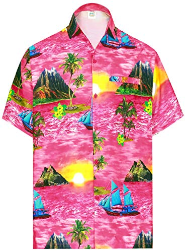 LA LEELA los Hombres Playa Palma Impreso Aloha botón de Camisa Informal Bolsillo Delantero Rosa_AA396 XL