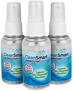 CleanSmart to Go Disinfectant. Kills 99.9% of Viruses, Bacteria, Germs, Leaves No Chemical Residue, Contains No Harsh Chemicals. Great to Clean CPAPs, Disinfect CPAPs. 2oz Spray, 3pk Travel Size