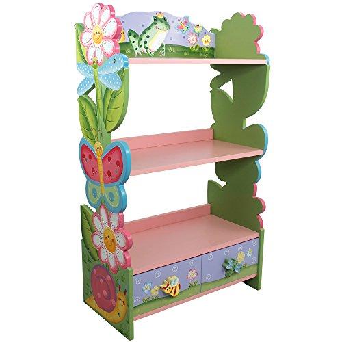 Fantasy Fields by Teamson Kids Magic Garden Kids Wooden Bookshelf with Storage Drawers, Multicolor, 22' x11.5''x38''