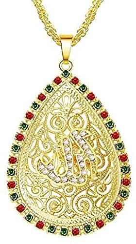 NC134 Vintage musulmán Islam Alá Collares Pendientes Color Dorado Cadena de eslabones de Acero Inoxidable Collar Largo Joyería Religiosa