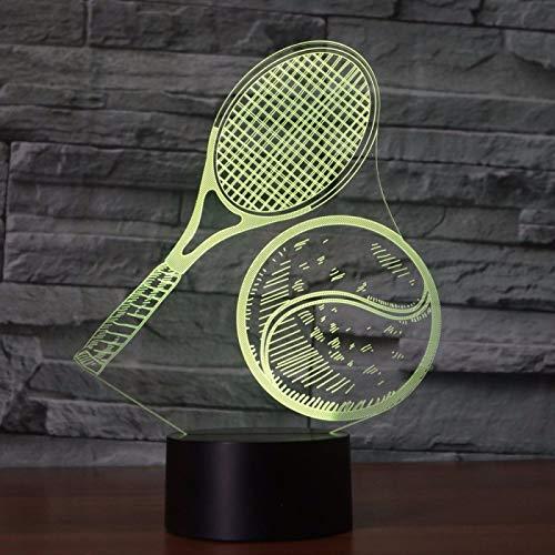 KangYD 3D Night Light Tennis Racket Model, LED Optical Illusion Lamp, E - Alarm Clock Base(7 Color), Desk Lamp, Bar Decor, Birthday Gift, Decor Lights, Decor Lamp