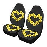Qilmy 1 paquete de fundas de asiento delantero antideslizante para automóviles, asientos de cubo, para decoración universal, furgoneta, camioneta, SUV, girasol en patrón de corazón