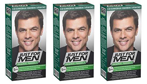3 x Just cheveux pour homme couleur Marron foncé – Formule originale – Noir (automatique)