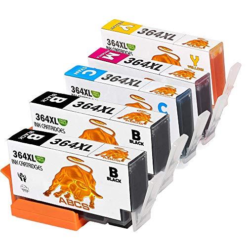 Abcs Printing Cartucce chiostro 364 364XL Cartuccia compatibili per HP Photosmart 5510 5520 5522 6520 B8550 C5388, Officejet 4620, Deskjet 3070A stampante,2 Nero, 1 Ciano,1 Magenta, 1 Giallo