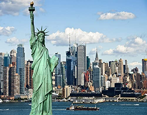 DIY Paint by Numbers for Kids & Beginner & Adults,New York Statue of Liberty in NYC Harbor Urban City Print Famous Cultural Landm,Gift Oil Painting Supplies Kit Set Canvas Art Home Decor, 20 x 16inch