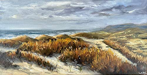 Bretagne Meerbild Bild Landschaft Kunst Original Ölmalerei Gemälde 40x20 cm