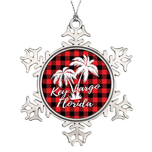 Christmas Ornaments, Key Largo Florida Palm Trees Beach Red Plaid Pewter Ornament, Snowflake Ornament Tree Hanging Decor Gift,3 Inch