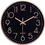 Taodyans - Reloj de pared silencioso de 12 pulgadas, reloj de cocina, de cuarzo, funciona con pilas, reloj de decoración del hogar, para oficina, clase, sala de estar, dormitorios (negro y oro rosa)