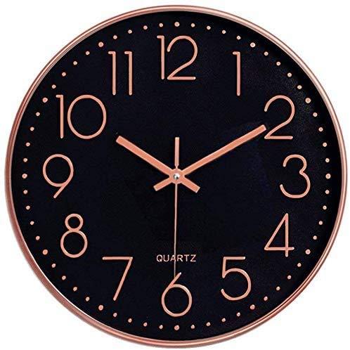Horloge murale silencieuse 12 dans horloge de cuisine Quartz à piles moderne décor à la maison horloge bureau classe salon chambres (Noir/or rose)