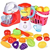 FUNctional: This 18-piece playset includes a basket of fruits and veggies with a toy stand mixer, blender, cutting board with pretend knife, and a toy shopping basket filled with a wide array of pretend to play fruits and vegetables! Mixer dimensions...