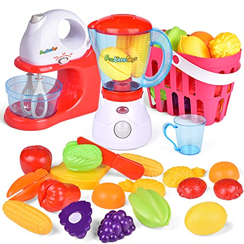 FUN LITTLE TOYS Kids Play Kitchen, Pretend Play Set with Mixer, Blender, Play Foods and Play Kitchen Accessories, Learning Gift for Girls Boys