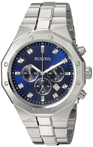 Bulova Men's Analog-Quartz Watch with Stainless-Steel Strap, Silver, 24 (Model: 96D138)