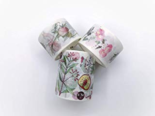 Pink Roses & Floral botanicals washi Tape Set 3 Rolls for DIY, Crafts, Scrapbook, Gift wrap, Custom Cards, Wall Paper Borders. Incl Extra Wide Tape!