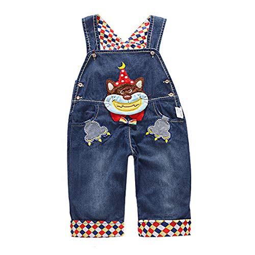 DEBAIJIA Baby Jungen Mädchen Denim Latzhose Kleinkind Hosenträger Jeans Overall Lächeln Waschbär Herstellergr.100 - Deutsche Gr.92/100