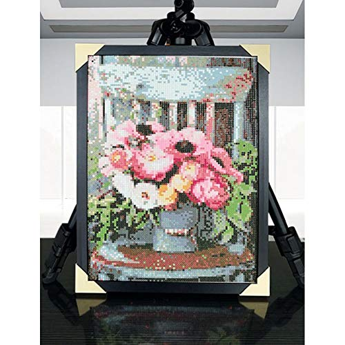 5D Full Round Drill Diamond Painting Kit, DIY Diamond Rhinestone Painting Kits for Adults Embroidery Arts Home Decor Flower Pot On The Stool 11.8x15.7Inch