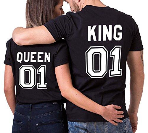 Parejas Camiseta King Queen T-Shirt 100% Algodón Shirts Impresión 01 2 Piezas de Manga Corta Rey Reina Regalo de San Jorge Camisa Casual para Amante(Black+Black,M+S)
