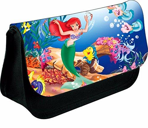 magic moments Personalised Little Mermaid Zipped Pencil Makeup CASE School DS Bag (Black)