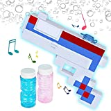 ArtCreativity Patriotic Pixel Bubble Blaster Toy Gun with Lights & Sound, 2 Bottles of Bubble Solution & Batteries Included, Red, White, and Blue Light Up Pixelated Blower for Boys, Girls, 4th of July