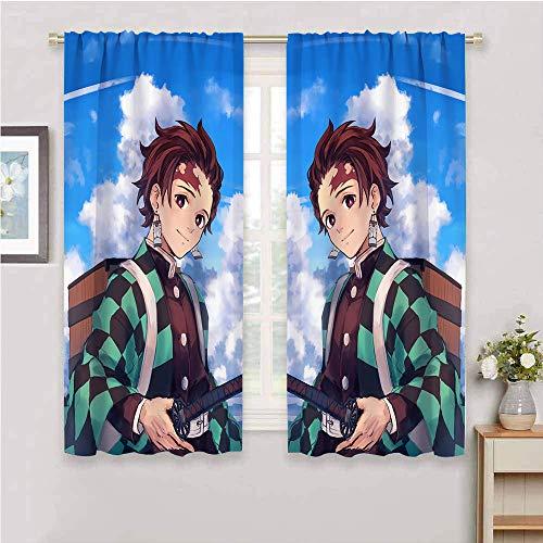 Cortinas opacas con bolsillo para varilla, diseño de anime para sala de estar, dormitorio, filtro de luz, bolsillo para ventana, 182 x 213 cm