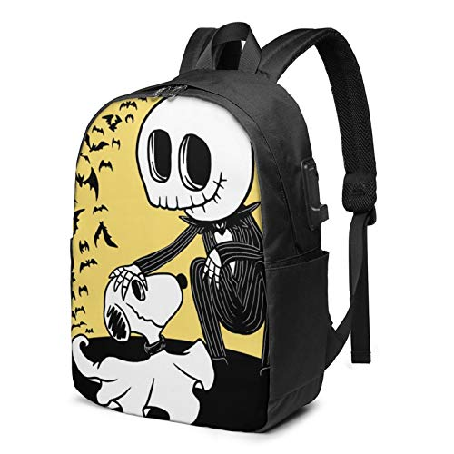 Cartoon Laptop USB Backpack 17 Inch School Bag for Middle College Students Travel Work Large Capacity,Halloween Nightmare Before Christmas Jack Skellington Snoopy