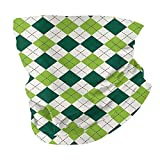 Q&SZ Sweatshirt Outdoor Headband Geometric Classical Diamond Line Pattern with Dotted Lines Vintage Design Es Lime Green Dark Green White Scarf Neck Gaiter Face Bandana Scarf Head Scarf