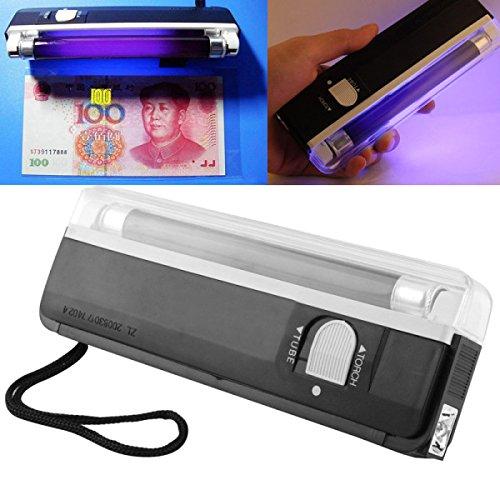 ILS Blacklight UV-lamp en LED-zaklamp, verborgen veiligheidsfuncties op bankbiljetten en paspoort, zwart