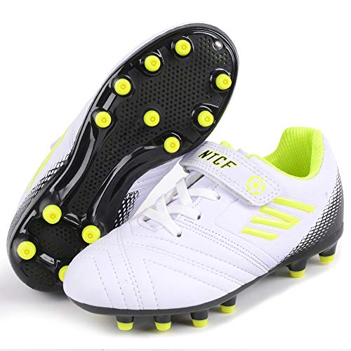 Zapatillas de Fútbol Niño 28 Botas de Fútbol Niña Spike Football Shoes Libre Atletismo Zapatos de Entrenamiento Profesionales Césped Artificial Zapatos de Fútbol Training Unisex Blanco