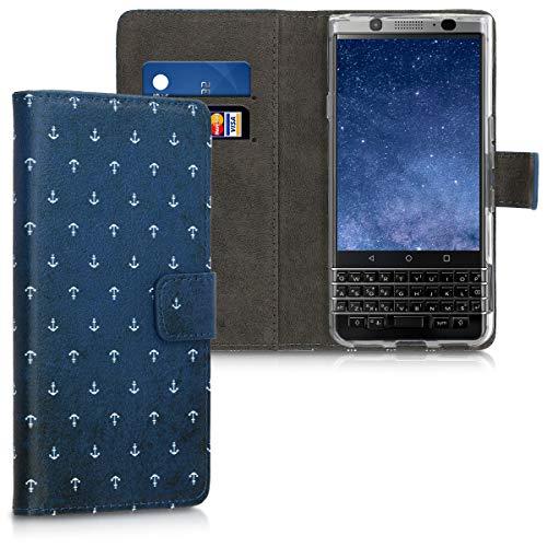 kwmobile BlackBerry KEYone (Key1) Hülle - Kunstleder Wallet Case für BlackBerry KEYone (Key1) mit Kartenfächern & Stand - Anker Muster Design Weiß Dunkelblau