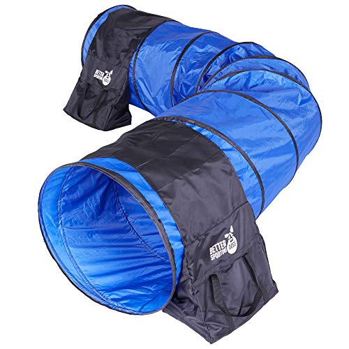 Better Sporting Dogs 10 Foot Dog Agility Tunnel with Sandbags   Dog Agility Equipment   Dog Agility Training