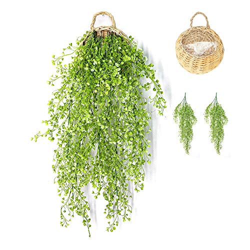 ANZOME Artificial Ivy Garland Artificial Hanging Plants Indoors, Hanging Basket Plants, Artificial Trailing Plants Outdoor, Fake Ivy Hanging Vines for Home Wall Wedding Party Garden Decor